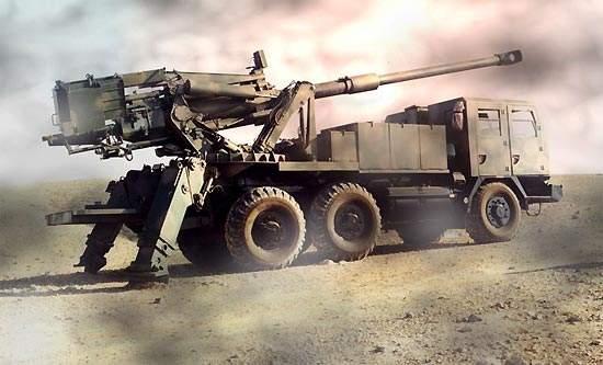 The Atmos 2000 firing shells in the desert