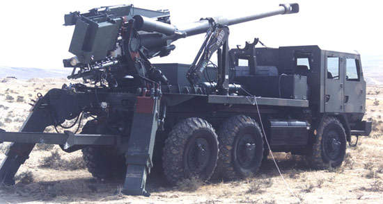 Tatra truck mounted Atmos system in desert operation