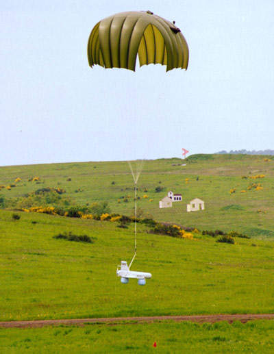 KZO landing with parachutes and airbags.