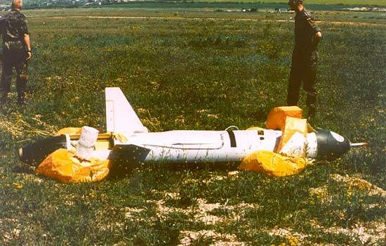 Trrops recovering a CL-289 Unmanned Aerial Vehicle shortly after landing