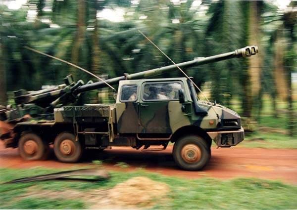 Truck mounted Caesar artillery gun travelling at speed