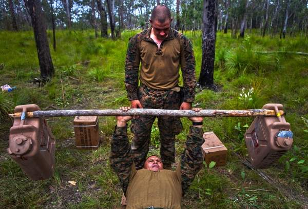 Soldiers bench press