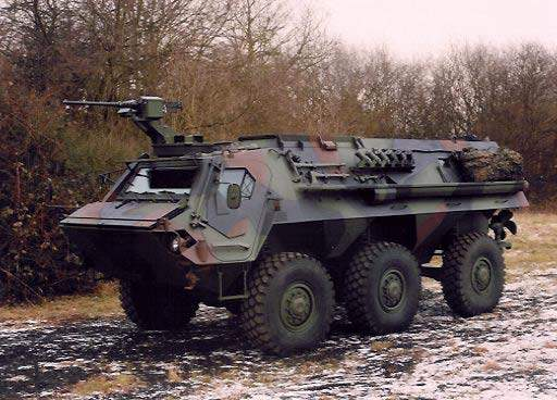 The Fuchs 2 has a maximum combat weight of 20,000kg and is fully amphibious.