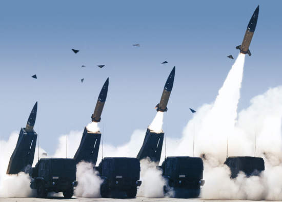 The HIMARS system firing ATACMS missiles