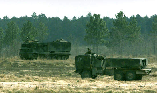 The HIMARS being used by the 27th Field Artillery at Fort Bragg