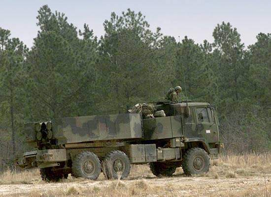 The HIMARS vehicle weighs 24,000lb, half as much as the MLRS.