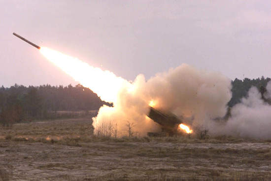 GPS guided MLRS rocket firing from a HIMARS