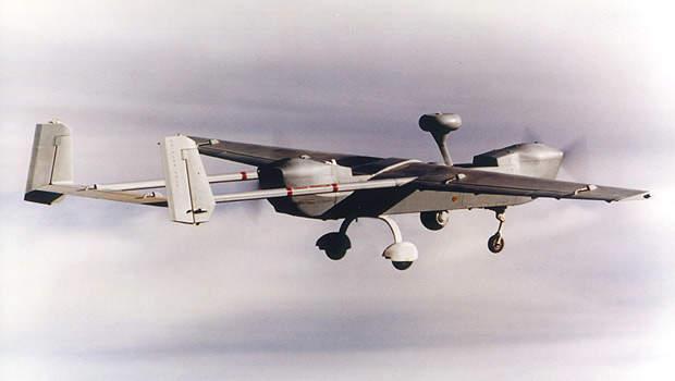 Rear view of the Hunter UAV in flight