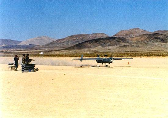 Hunter UAV speeding up for take off