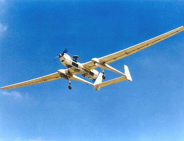 The extended Hunter UAV in flight at high altitudes