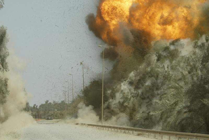 IED, detonation, controlled explosion, US Army, Iraq