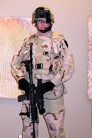 A soldier wearing Land Warrior Integrated Modular Fighting System