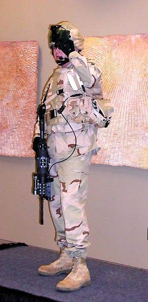 Soldier demonstrating the land warrior systems