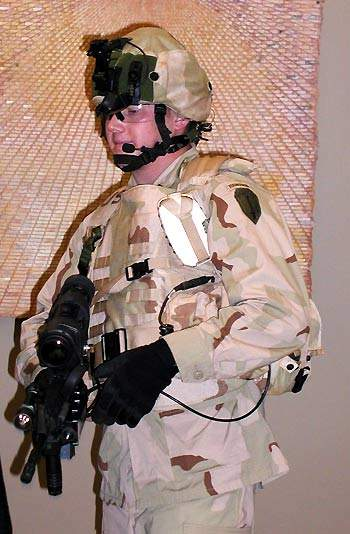 Land warriror systems soldier armed with a M4 Carbine gun