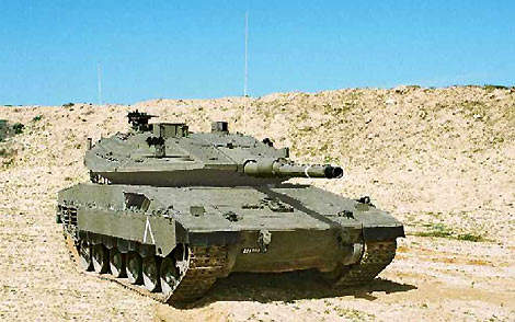 Merkava 4 in the desert with ballistic armour fitted