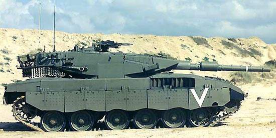 Merkava 4 tank powered by a 1,500hp diesel engine