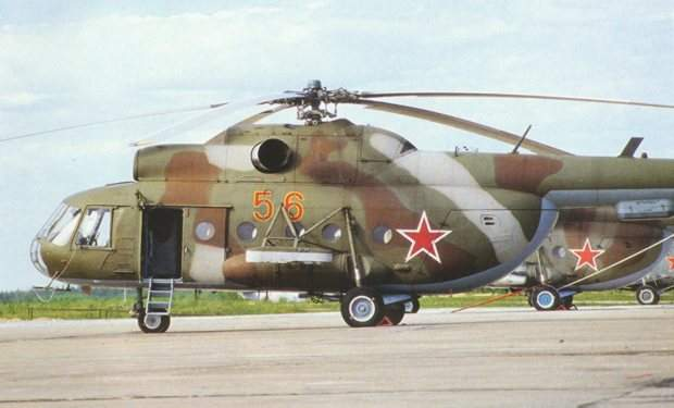 The Mi-8T military transport helicopter provides mobility to ground force units.