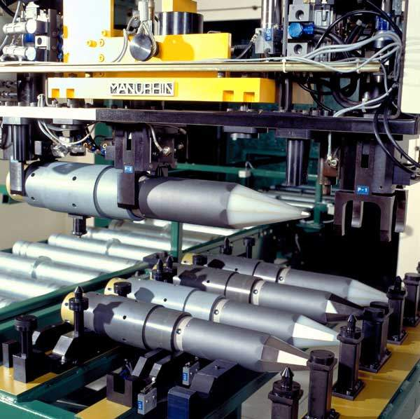 Mistral air defence system missiles in factory setting