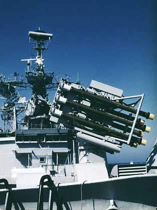 The Sadral shipborne system with launcher for six Mistral missiles.