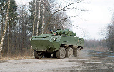 The Pandur II 6x6 armoured personnel carrier can carry three crew and up to 10 troops.