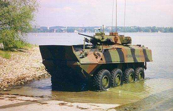 The Piranha III amphibious capable vehicle with twin rudders
