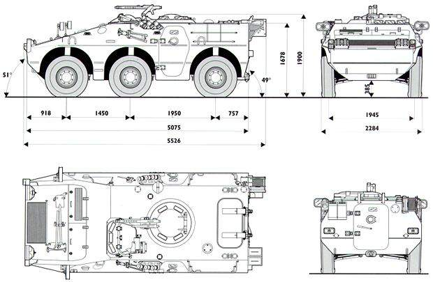 Dimensions and measurements of the Puma 6x6 wheeled armoured fighting vehicle.