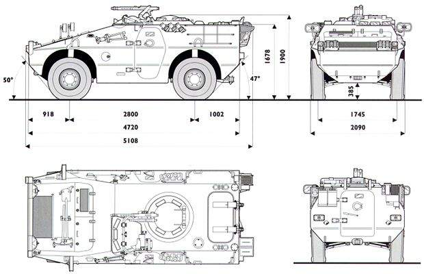 Dimensions and measurements of the Puma 4 x 4 wheeled armoured fighting vehicle.