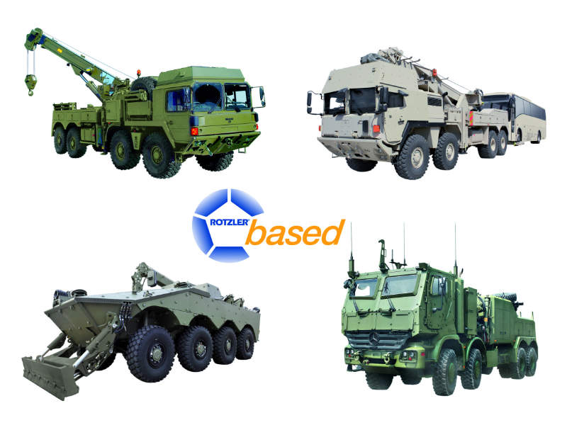 Four military vehicles