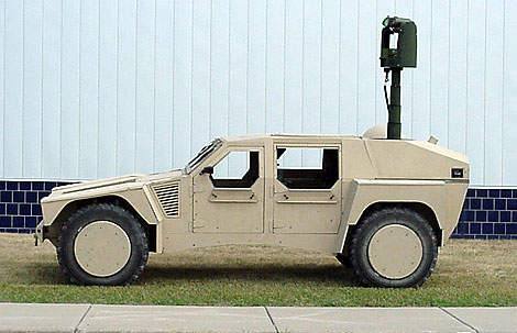 Side view of the Shadow RST military vehicle