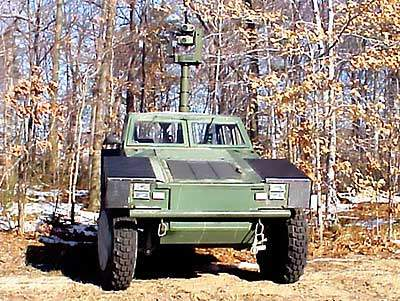 Shadow RST military vehicle featuring a extending mast for surveillance