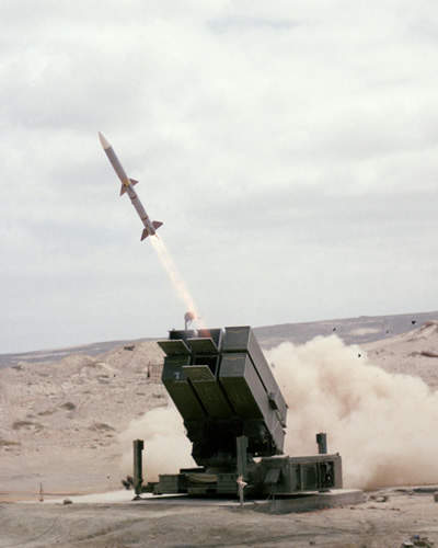Norwegian Advanced SAM System (NASAMS) firing a AMRAAM  rocket