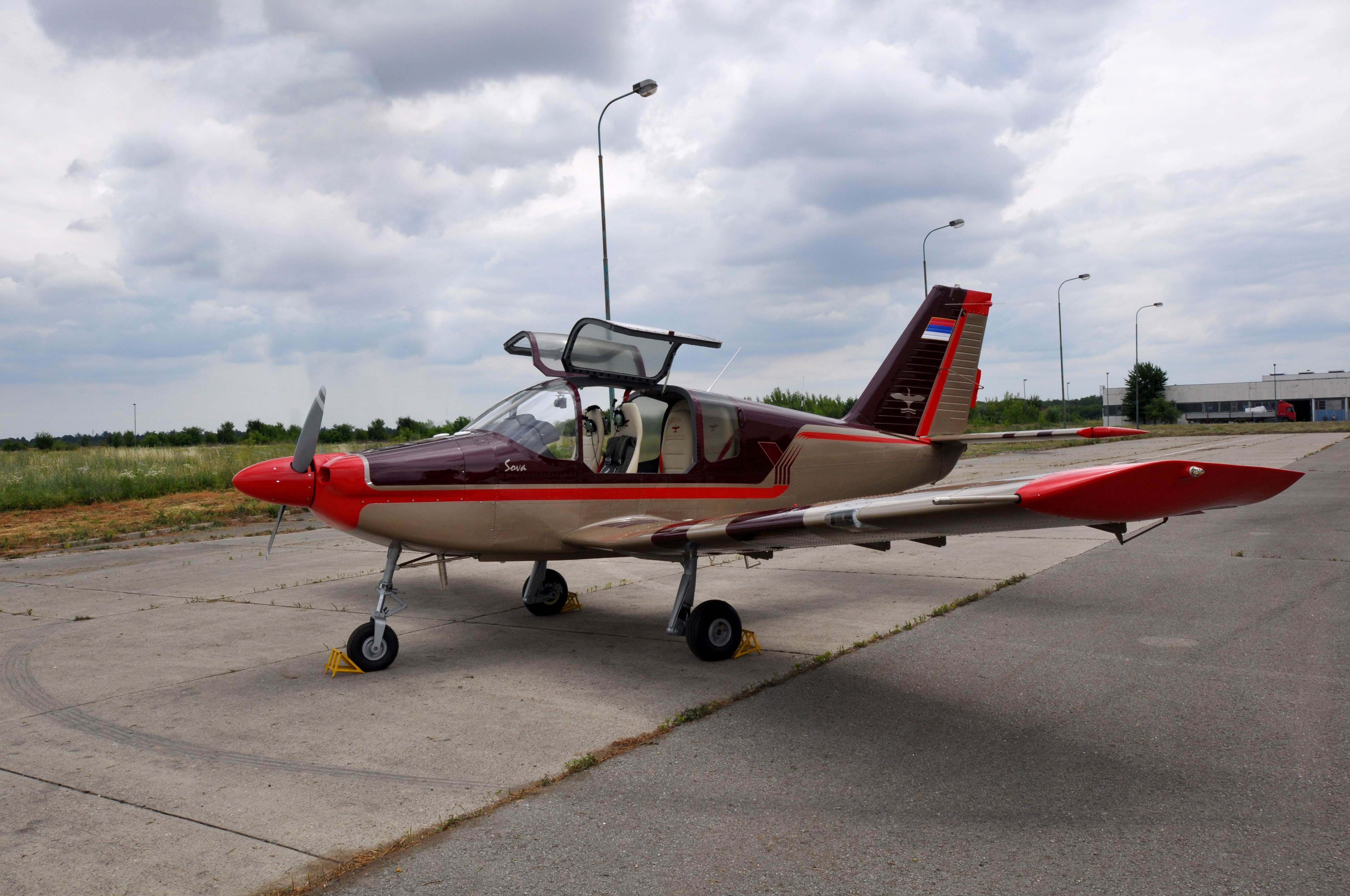 A red and white aircraft