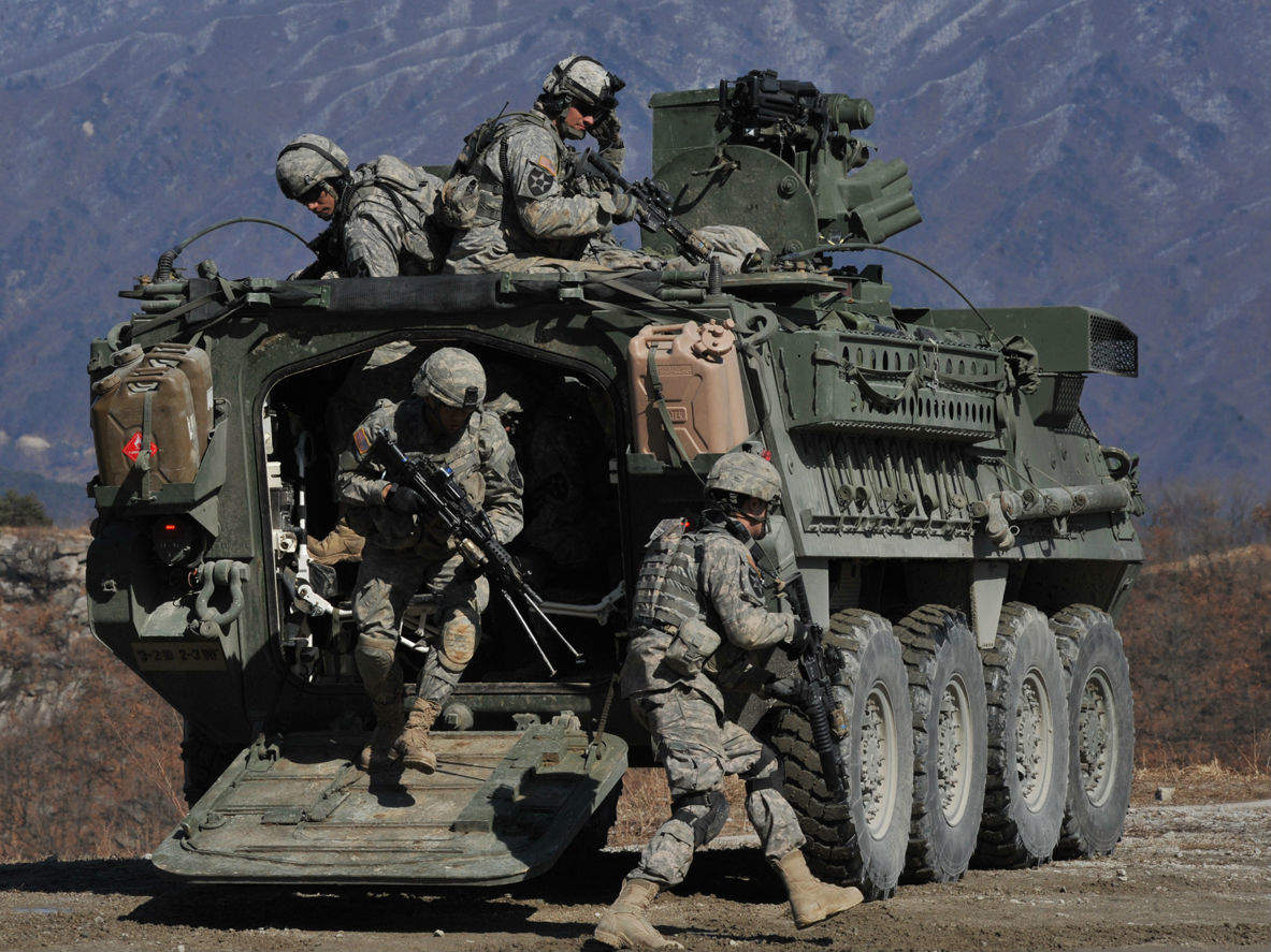 US Army Stryker armoured vehicle troops soldiers