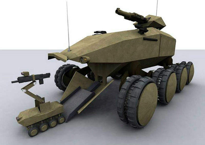 An Artists Impression Of A Future Protected Vehicle Releasing Smaller Unmanned Ground Drone MoD Open Gov Licence