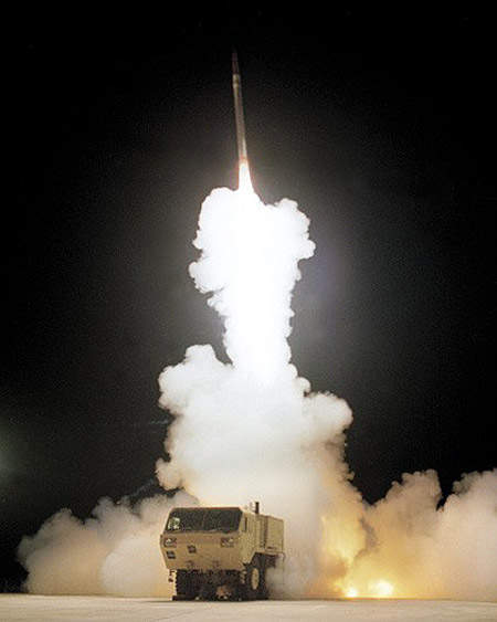 The THAAD system provides the upper tier of a layered defensive shield. The PAC-3 missile provides the lower tier.