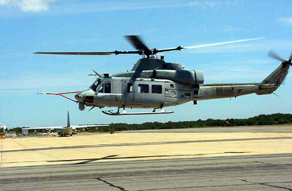 The US Marines UH-1Y Huey utility helicopter.