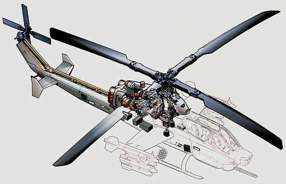 Drawing of the AH-1Z Supercobra showing the rotor system common with the UH-1Y.