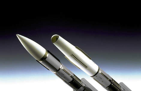 The Mica missile is available with radio frequency seeker (on the left) or infrared seeker (on the right).