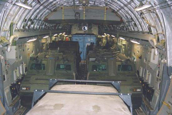 Two Vikings inside a C-17 transport aircraft.