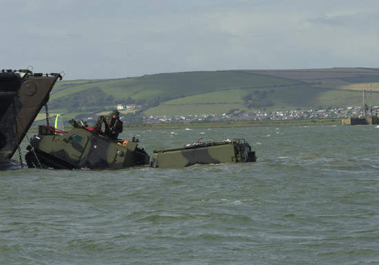 Climbing aboard the LCU mk9 landing craft.