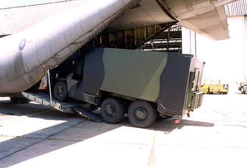 Watchkeeper being loaded on a C-130 transport aircraft.