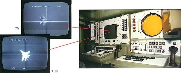 Control panel and monitor of the ADATS surface-to-air missile (SAM) system.