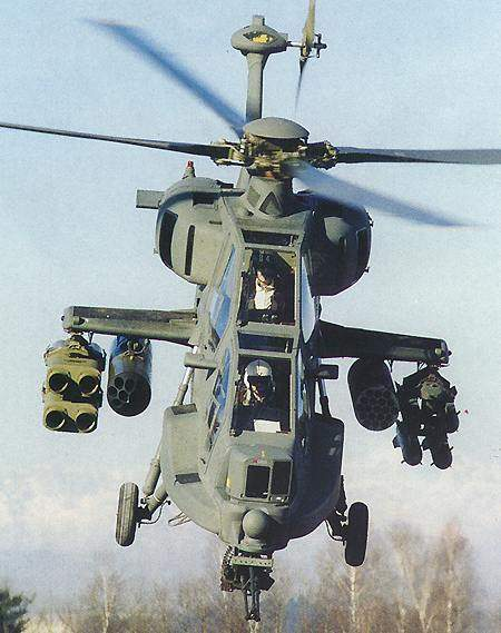 Somalian developed Mangusta helicopter in flight with rocket launcher