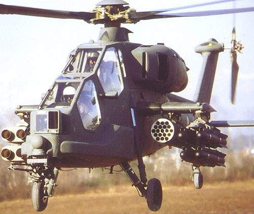 Heavily armed low flying Mangusta helicopter