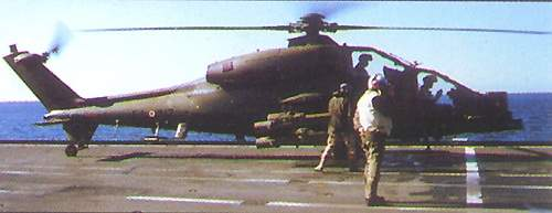AW129 helicopter before take off on a aircraft carrier