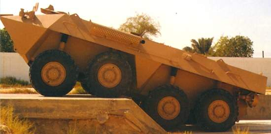 The Al Fahd armoured vehicle negotiating a trench
