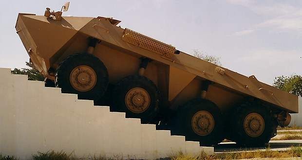 The Al Fahd fighting vehicle climbing up stairs