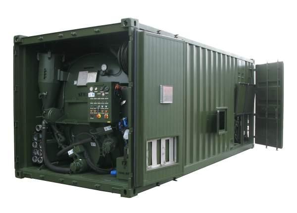 Containerised sewage evacuation system