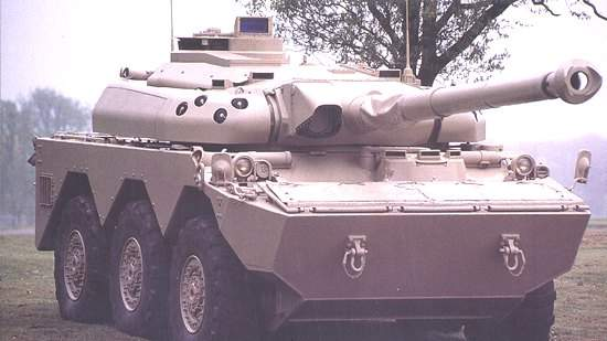 The AMX 10RC vehicle featuring a 105mm NATO standard gun