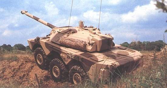 Version of the AMX 10RC with light 105mm gun attached